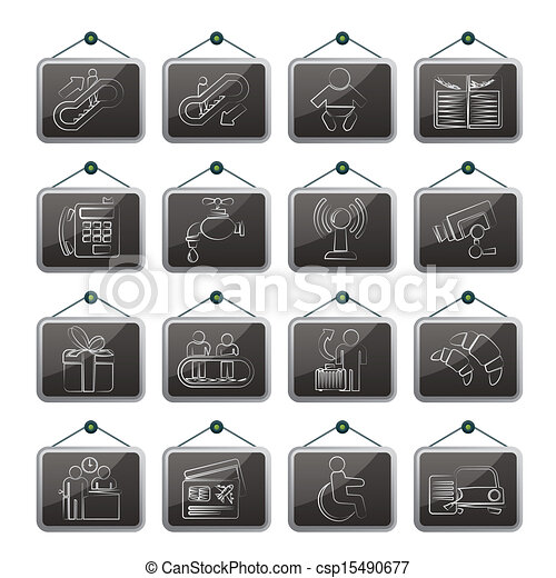 Airport and transportation icons - csp15490677