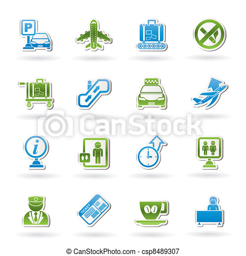 Airport and transportation icons - csp8489307