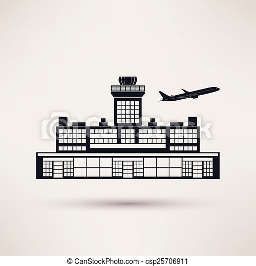 Airport Building Icon In The Flat Style Airport Building Icon