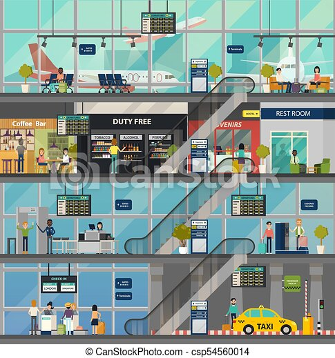 Airport Building Structure With Rooms And People