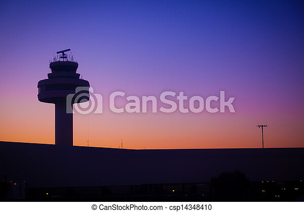 Airport Control Tower at Sunset - csp14348410