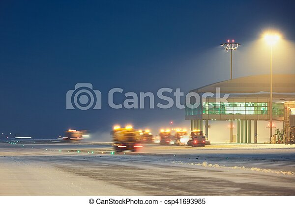 Airport during the snowstorm - csp41693985