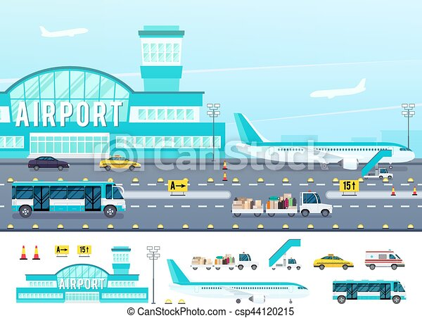 Airport Flat Style Illustration - csp44120215