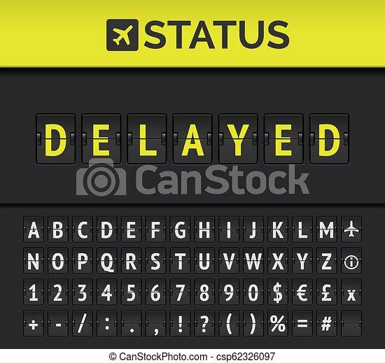 Airport flip board showing flight departure or arrival status Delayed. Vector - csp62326097