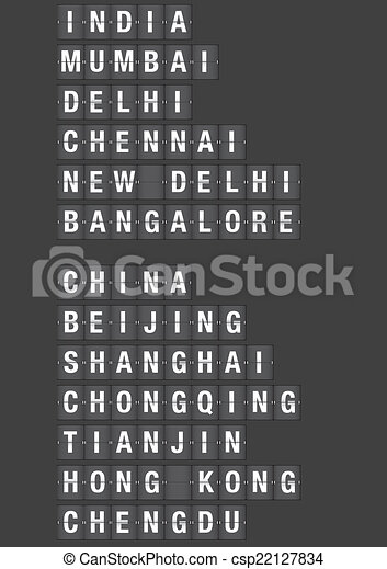 Airport Flip Board with Name of Cities in China and India - csp22127834