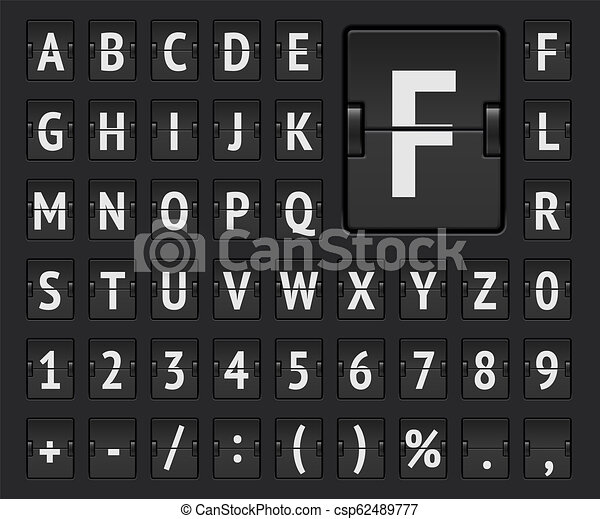 Airport flip scoreboard alphabet font with numbers to display flight  destination, arrival or departure info  Vector illustration