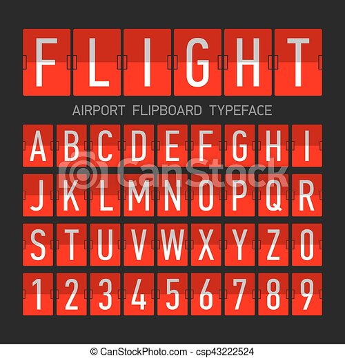Airport flipboard flat style font - csp43222524