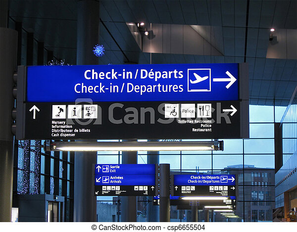Airport gate sign, flight schedule,airline,europe  - csp6655504