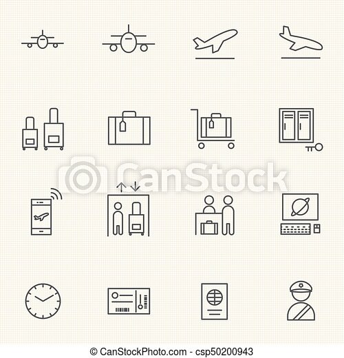 Airport icon sets. Line icons. - csp50200943