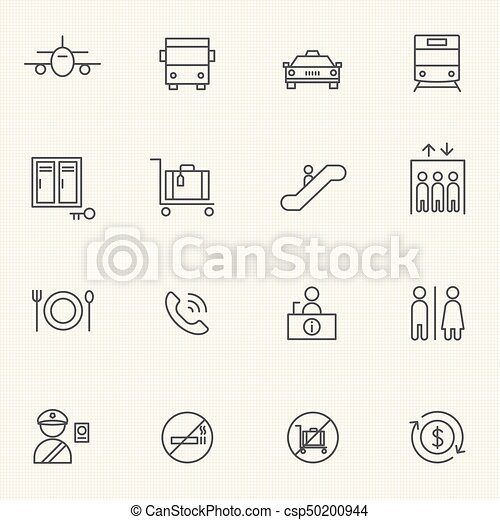 Airport icon sets. Line icons. - csp50200944
