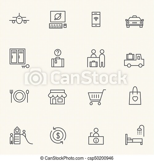 Airport icon sets. Line icons. - csp50200946