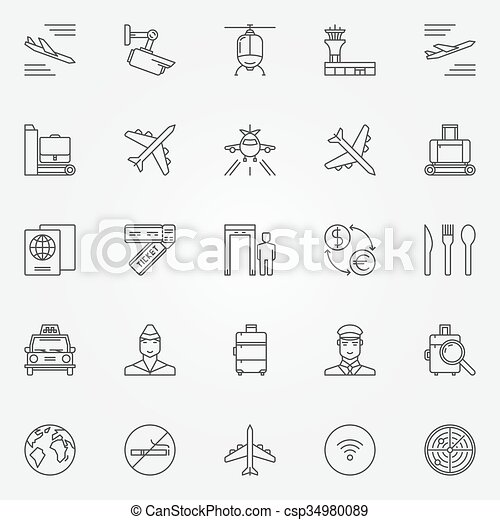 Airport Icons Set Vector Thin Line Air Travel Symbols Airport