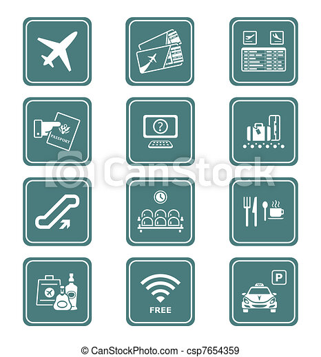 Airport icons   TEAL series - csp7654359