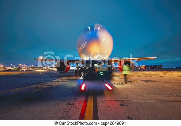 Airport in the night - csp42649691