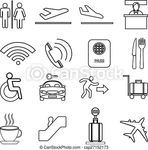 Airport line icons set - csp27152173