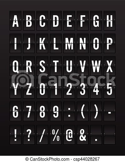 Airport Mechanical Flip Board Panel Font - White Font on Dark Background - csp44028267