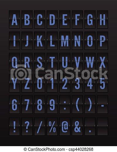 Airport Mechanical Flip Board Panel Font - Blue Font on Dark Background - csp44028268