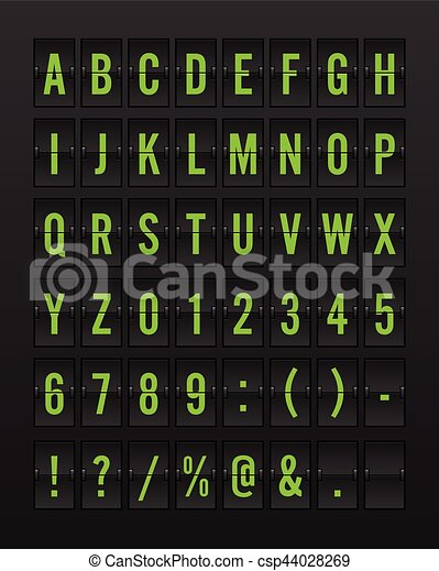 Airport Mechanical Flip Board Panel Font - Green Font on Dark Background - csp44028269