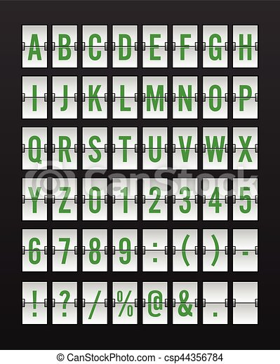 Airport Mechanical Flip Board Panel Font - Green Font on White Background - csp44356784