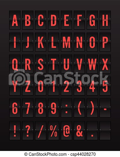 Airport Mechanical Flip Board Panel Font - Red Font on Dark Background - csp44028270