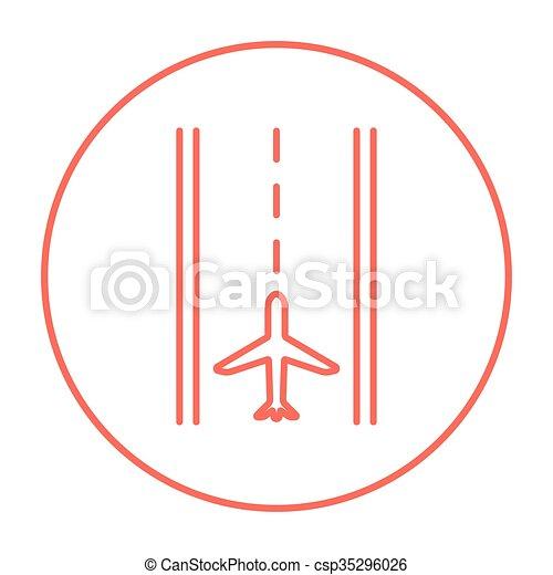 Airport runway line icon. - csp35296026