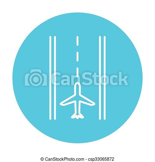 Airport runway line icon. - csp33065872