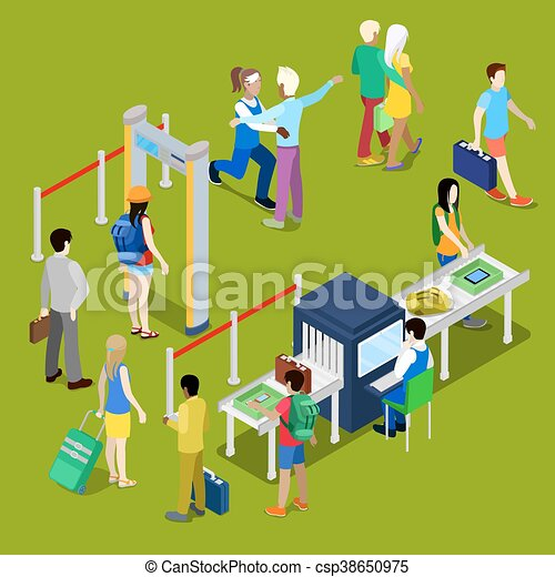 Airport Security Checkpoint with a Queue of Isometric People with Baggage. Vector illustration - csp38650975
