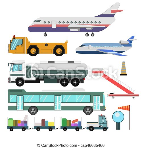 Airport service vehicles and planes vector isolated icons - csp46685466