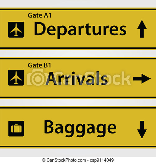 Airport Signs Illustration - csp9114049