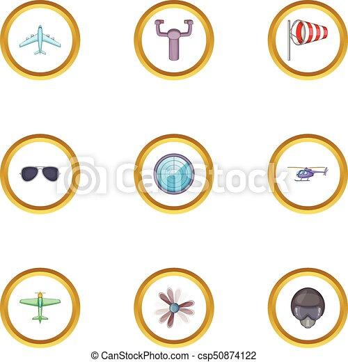 Airport terminal icons set, cartoon style - csp50874122