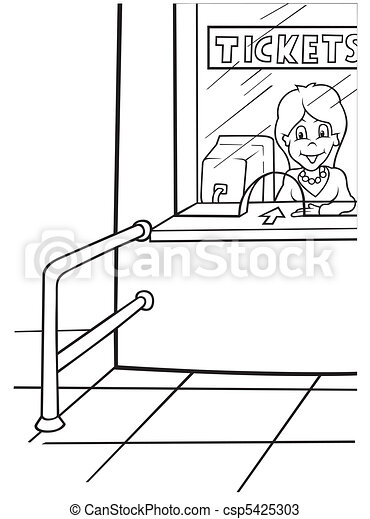 airport tickets black and white cartoon illustration vector