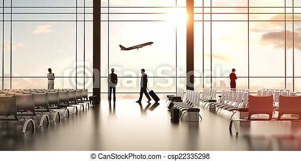 airport with people - csp22335298