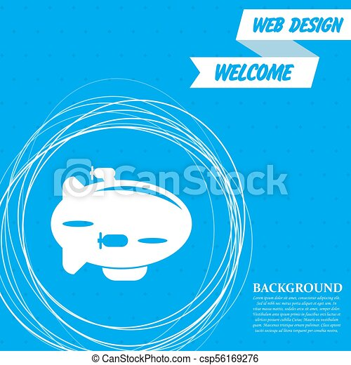 Airship Icon on a blue background with abstract circles around and place for your text. Vector - csp56169276