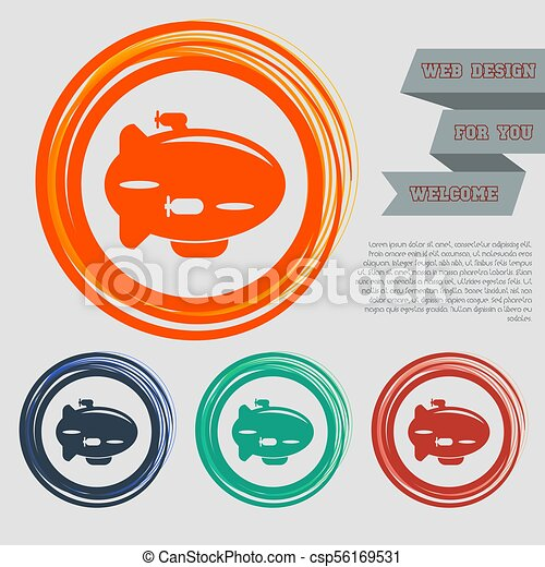 Airship Icon on the red, blue, green, orange buttons for your website and design with space text. Vector - csp56169531