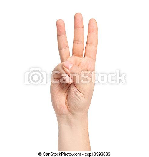 Mano masculina aislada mostrando el número tres - csp13393633