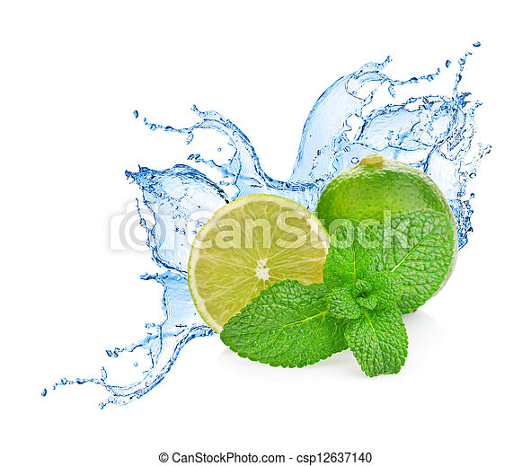 Agua salpicada en lima con menta aislada en blanco - csp12637140