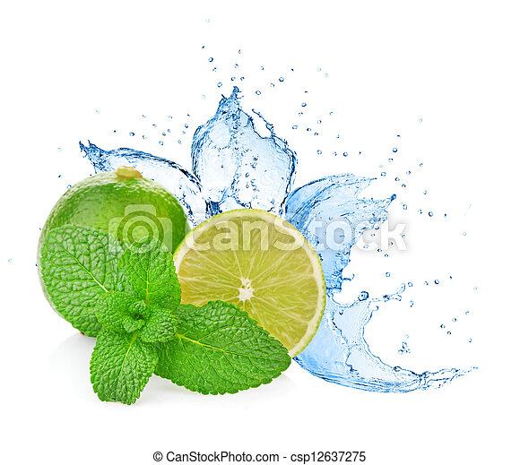 Agua salpicada en lima con menta aislada en blanco - csp12637275