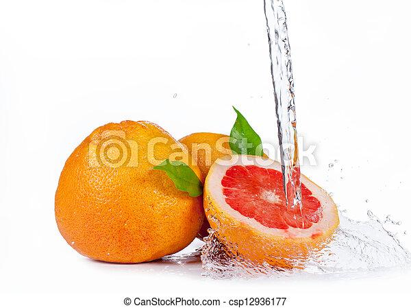 Fruta fresca con agua salpicada, aislada de fondo blanco - csp12936177