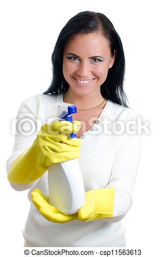 Feliz ama de casa con limpia ventanas. Aislado en blanco. - csp11563613