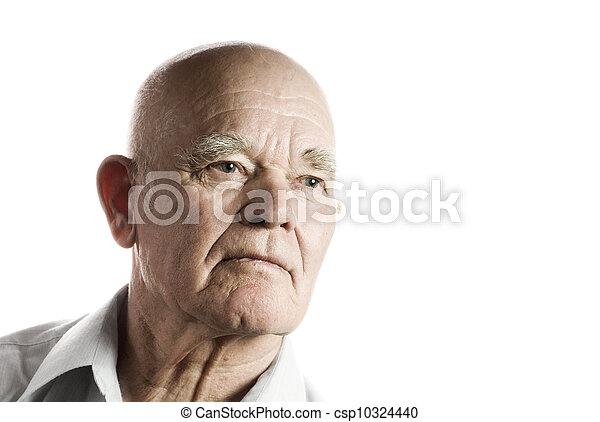 Un hombre mayor seguro. Aislado de fondo blanco - csp10324440