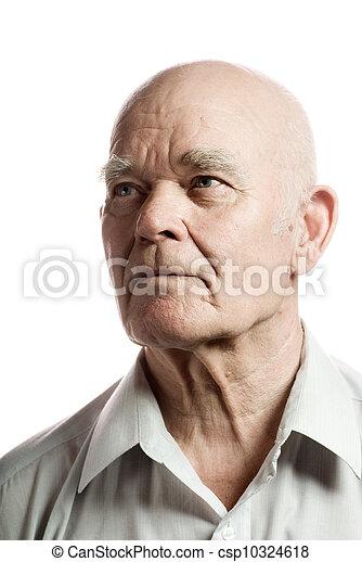 Un hombre mayor seguro. Aislado de fondo blanco - csp10324618