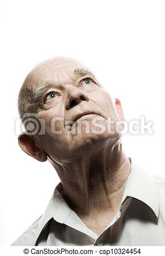 Retrato de un anciano. Aislado de fondo blanco - csp10324454