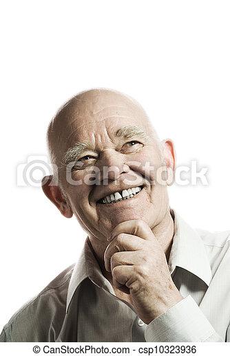 Un anciano feliz aislado en un fondo blanco - csp10323936