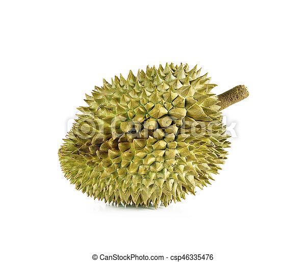 Durian está aislado en el fondo blanco. - csp46335476