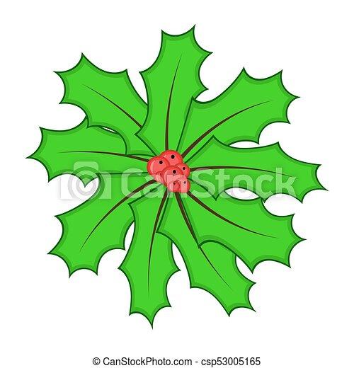 La baya de Holly para Navidad aislada en el fondo blanco - csp53005165