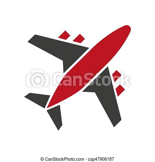 Aislado, colores, avión, negro, rojo blanco, icono. Pasajero ...