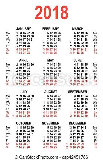 Calendario En Blanco.Aislado Cuadricula 2018 Calendario Blanco Template