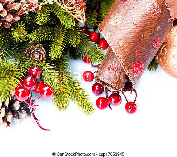 Decoraciones de Navidad adornadas aisladas en blanco - csp17053945