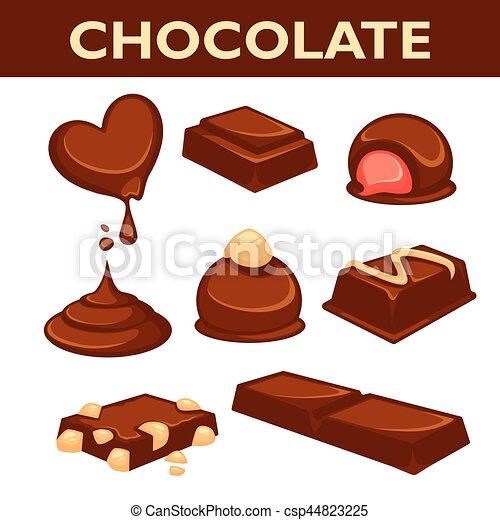 Colección de vectores de vectores de caramelos de chocolate aislada en blanco - csp44823225