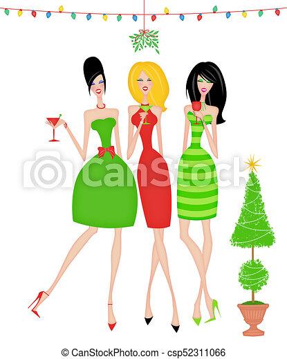 Amigos elegantes en una fiesta de Navidad aislada en blanco - csp52311066